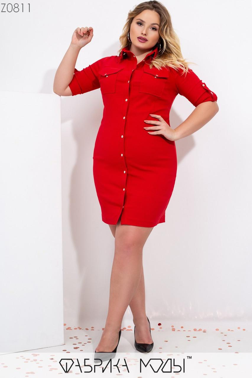 Джинсовое платье на кнопках со стояче-отложным воротником, короткими рукавами на патиках и накладными карманами с клапанами на груди Z0811