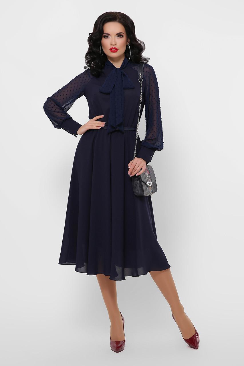 Темно-синее вечернее платье миди шифоновое с длинными рукавами