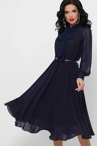 Темно-синее вечернее платье миди шифоновое с длинными рукавами, фото 2