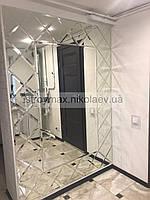 Зеркальное панно со смотровым зеркалом 150*210 см серебро фацет 15 мм