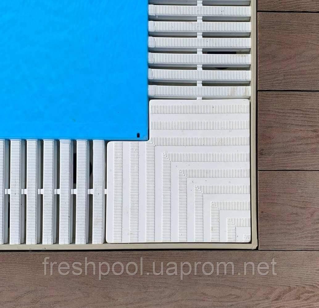 Угол 90 градусов к решетке перелива 180 мм (сплошной)