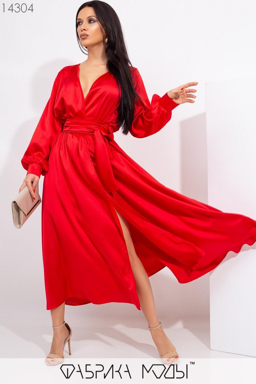 Шелковое вечернее платье миди с имитацией запаха, длинными рукавами с манжетами и съемным широким поясом по талии на резинке 14304