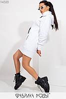 Теплое платье-худи с капюшоном , длинными рукавами на манжетах и прорезными карманами 14320, фото 1