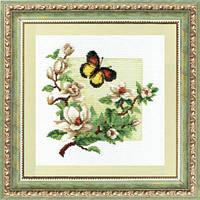 """Набор для вышивки крестиком Чарівна Мить 323 """"Бабочка на цветах"""""""
