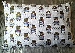 Наволочка полосатые мишки на белом фоне с запахом, на детскую подушку  60*40 см,100% хлопок