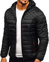 Демисезонная куртка с капюшоном! Стильная стеганая куртка! Мужская курточка черная!