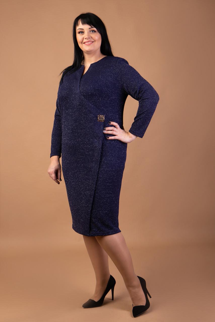 Оригинальное трикотажное платье с люрексом