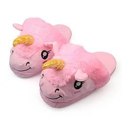 Плюшевые домашние тапочки игрушки женские Kronos Top Единорог размер универсальный 36-42 Розовый (frs_122290)