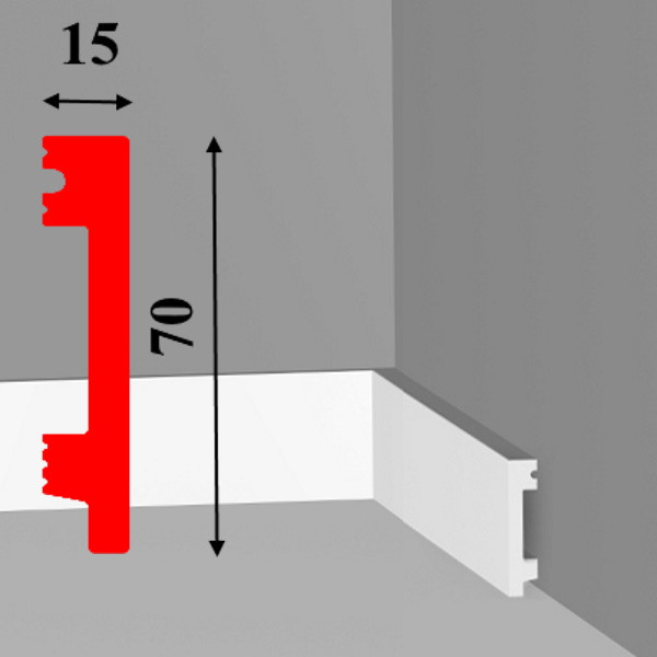 Напольный плинтус из ударопрочного ПВХ (дюрополимер) высотой 70 мм длиной 2,0 м