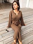 Женское длинное стильное вязаное платье с поясом супер качества, фото 7