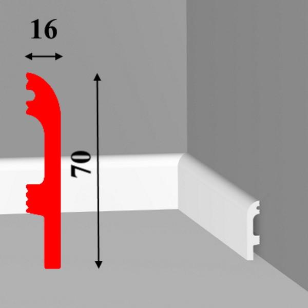 Плинтус под покраску из дюрополимера белого цвета высотой 70 мм длиной 2,0 м