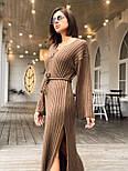 Женское длинное стильное вязаное платье с поясом супер качества, фото 6