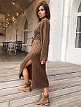 Женское длинное стильное вязаное платье с поясом супер качества, фото 5