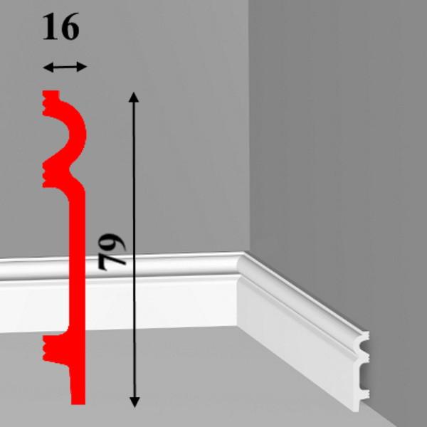 Фигурный напольный плинтус из дюрополимера с кабель-каналами высотой 79 мм длиной 2,0 м