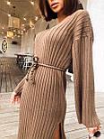 Женское длинное стильное вязаное платье с поясом супер качества, фото 4