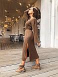 Женское длинное стильное вязаное платье с поясом супер качества, фото 3