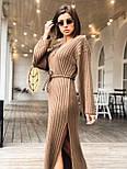 Женское длинное стильное вязаное платье с поясом супер качества, фото 2