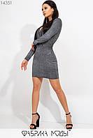 Платье мини кроя футляр с цельнокроенным верхом, глубоким декольте длинными зауженными рукавами и отрезной талией 14351, фото 1