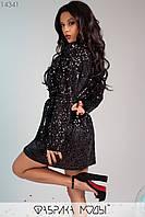 Короткое бархатное платье-пиджак с отложным воротником длинными рукавами, декорировано пайеткой пуговицами и поясом в комплекте 14341, фото 1