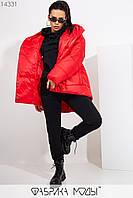 Куртка в стиле oversize асимметричного кроя с капюшоном, застежками-кнопками по всей длине и прорезными карманами 14331, фото 1