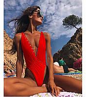 Красивый утонченный красный слитный купальник с чашками с завышеной талией S, М, L