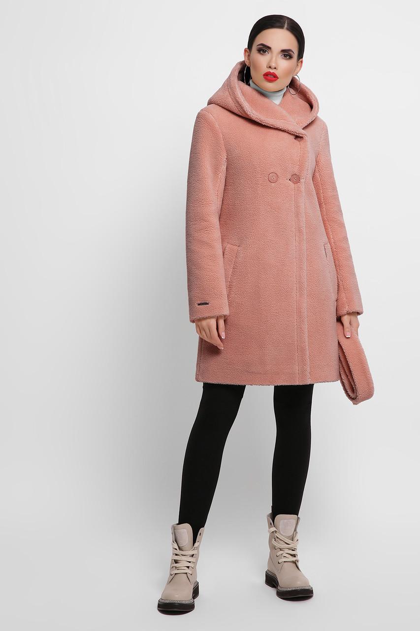 Розовая женская короткая шуба с капюшоном