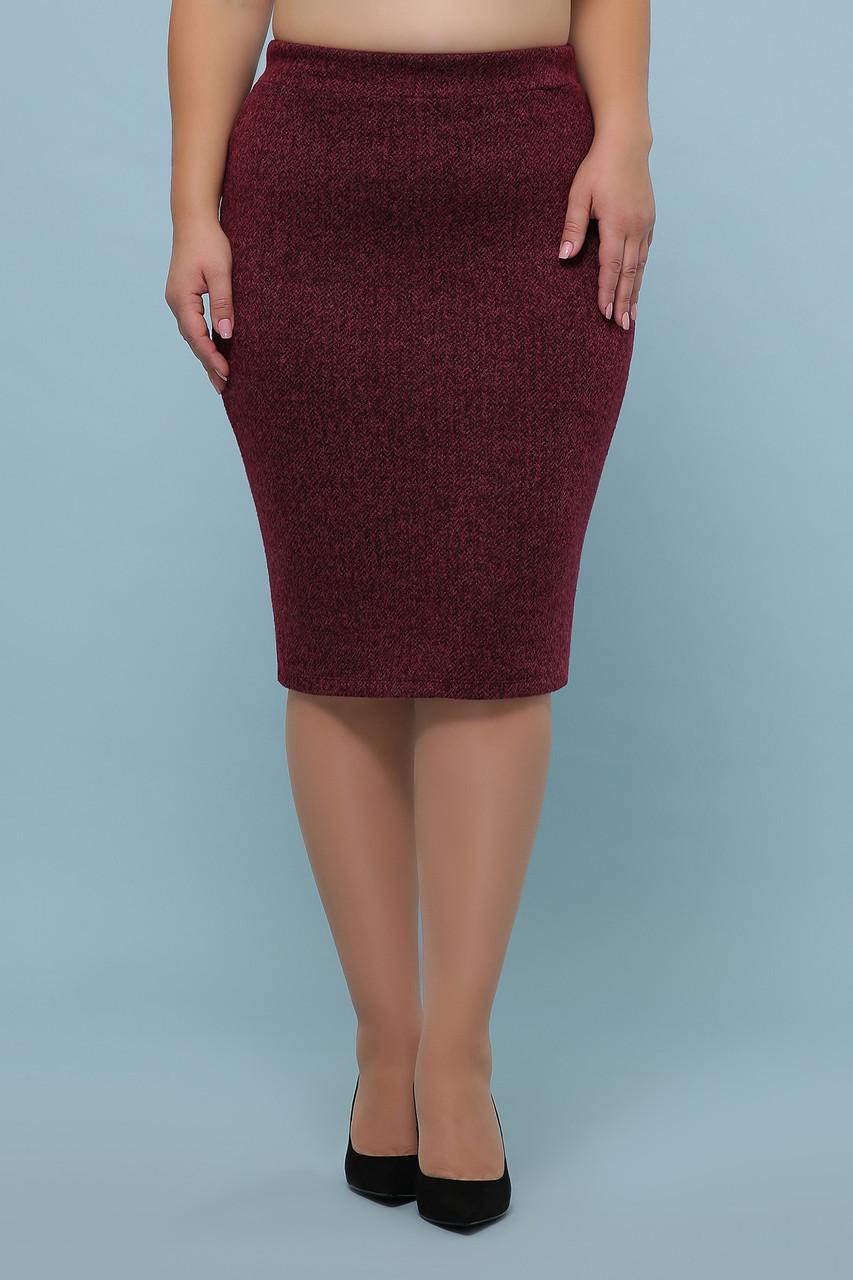 Бордовая юбка средней длины для пышных женщин большие размеры