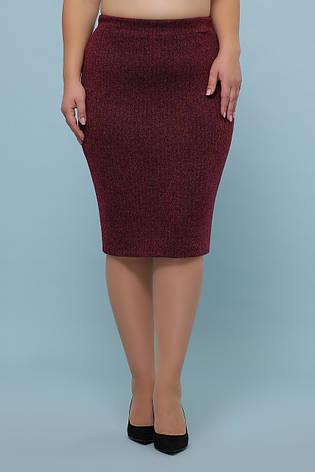 Бордовая юбка средней длины для пышных женщин большие размеры, фото 2