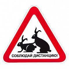 Наклейка Vitol Соблюдай дистанцию (150х150мм) кролики