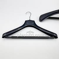 Пластиковые вешалки для верхней одежды SPr-42/55 черного цвета с поролоновой перекладиной, длина 420 мм