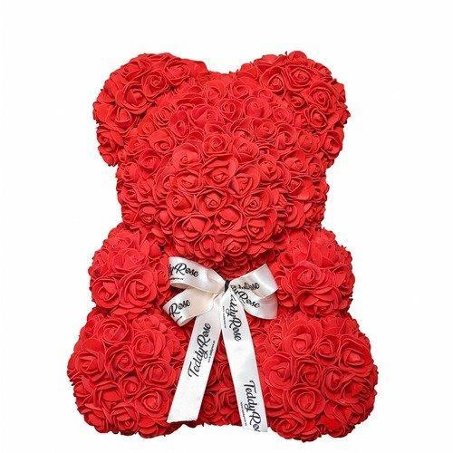 Мишка из 3D роз в подарочной упаковке с белой лентой медведь Тедди Teddy Красный