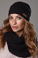 Шапка вязаная женская и хомут, шапка зимняя. Комплект