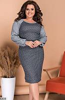 Повседневное платье из ангоры принт, размеры 48-50, 52-54, 56-58, 60-62
