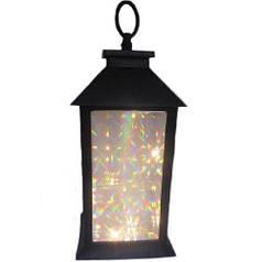 Новогодняя декоративная лампа-фонарь светильник с подсветкой HLV R28324 13x13x28 см
