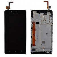 Дисплей модуль для Lenovo A6000, K3 (K30-T), K3 (K30-W) в зборі з тачскріном, чорний, з рамкою