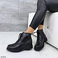 Женские черные зимние ботинки из натуральной кожи
