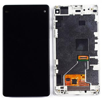 Дисплей для Sony Xperia Z1 Mini Compact D5503 модуль в сборе с тачскрином, белый, с рамкой, High Copy
