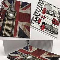 """Блокнот на спирали (A6) A6-60 """"London"""" боковая спираль, твердый переплет (60 листов)"""