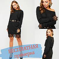 Платье женское черное, свободного кроя мини с длинным рукавом
