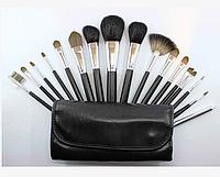 Набор кистей для макияжа  16 штук (в чехле) черные