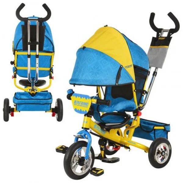 Велосипед трехколесный  TURBO TRIKE M 5361-01 UKR, жёлто-синий, надувные колёса