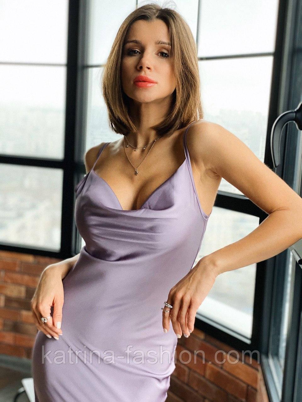 Женское шикарное платье комбинация из шелка на брителях