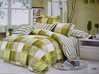 Сатиновое постельное белье семейное ELWAY 246 «Клетки и полоски»