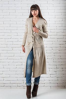 Женский модный кардиган  длинный 42-50 бежевый
