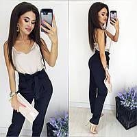 Модные женские брюки батал черный