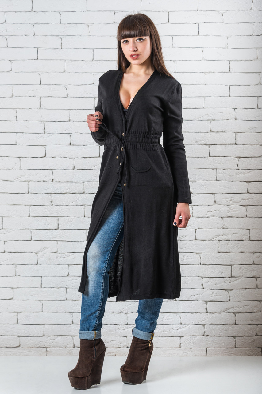 Женский модный кардиган  удлиненный  42-50 черный