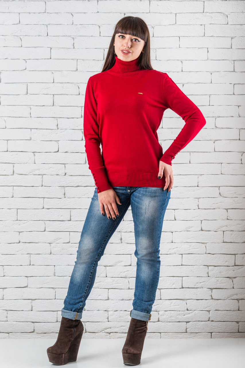 Женский свитер 48-52 красный