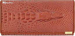 Женский кошелек с тиснением крокодила Banyanu коричневый