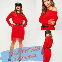 Платье женское красное casual 2020 мини с длинным рукавом