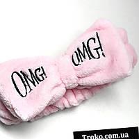Плюшевая повязка бант на голову OMG розовый